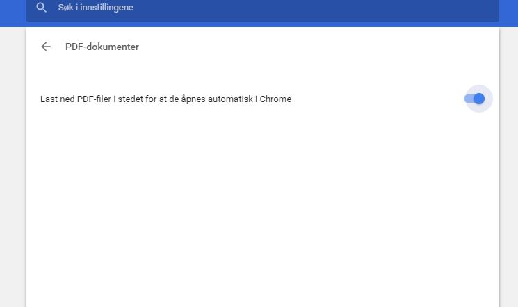 Inspillinger for Chrome for å vise PDF